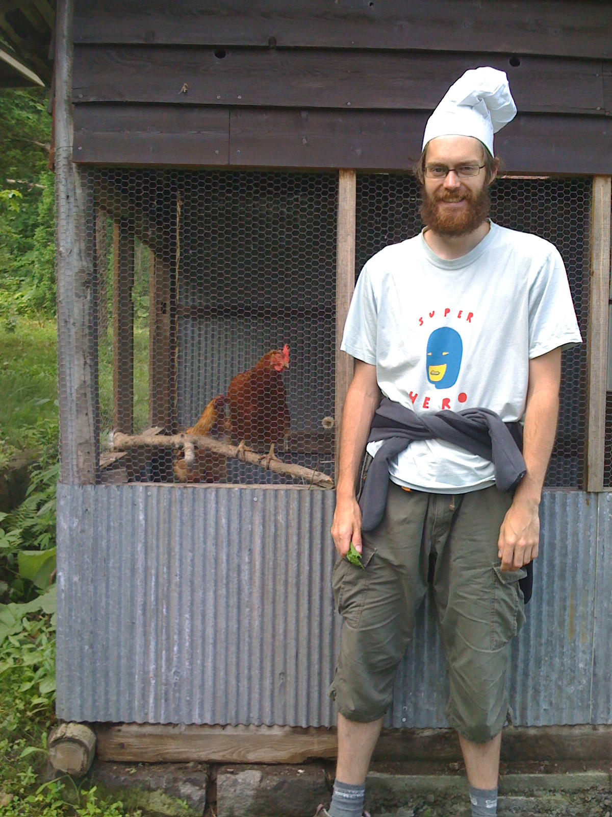 Chefs Hat - Lake Toya, Japan with the friendly chickens
