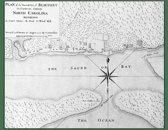 Beaufort, North Carolina - Sauthier map, 1770