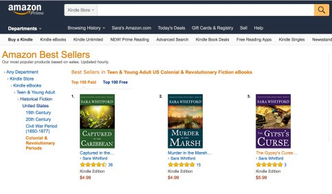 The Adam Fletcher Adventures occupying the top spots in the Amazon's YA Colonial & Revolutionary Historical Fiction bestsellers.