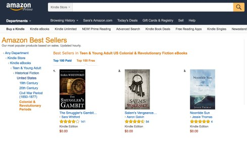 The Smuggler's Gambit has frequently been at #1 on the Free YA Colonial & Revolutionary Historical Fiction.