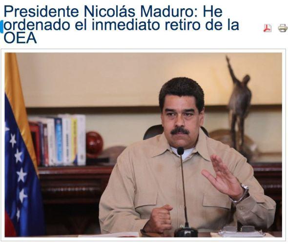 """Screenshot: """"Presidente Nicolás Maduro: He ordenado el inmediato retiro de la OEA"""""""
