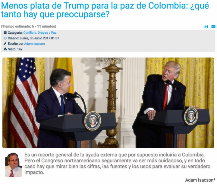 Screenshot of Razón Pública piece