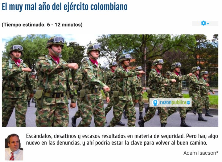 The Colombian Army's Very Bad Year - Adam Isacson Adam Isacson