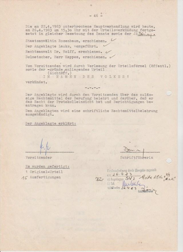46 - 24.06.83 Stadtgericht Berlin Verhandlungsprotokoll