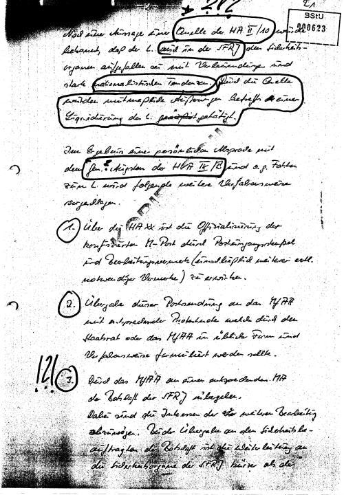 Nach der Aussage einer Quelle der HA II/10 wurde bekannt daß der L. auch in der SFRJ
