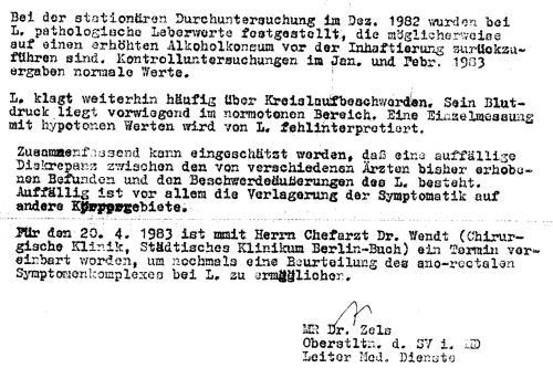 Mit diesem Schreiben war ich zum gesündesten Verhafteten der U-Haft 1 von Rummelsburg erklärt