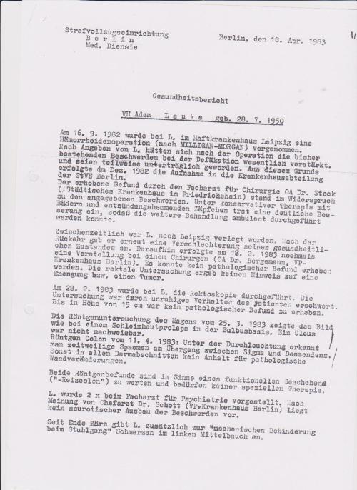 Gesundheitsbericht des Monsters Dr.Eberhard Zels - IM NAGEL 18.4.1983