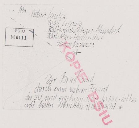 Rückseite des Briefes an den KGB an Rogge ausgehändigt