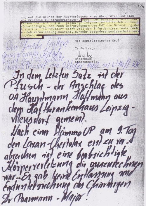 Die IM E Ärzte im Dienst des MfS bleibt 24 Jahre  nach dem Fall der Mauer unerforscht !=??