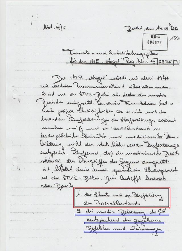 """IMS """"Nagel"""" alias OMR OSL des SV Dr.Erhard Zels, Internist, Plauener Strasse 26 Berlin"""