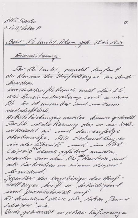 IM Bericht  als Abschirmung der Folter und Gewaltanwendung 26.-30.8.1984