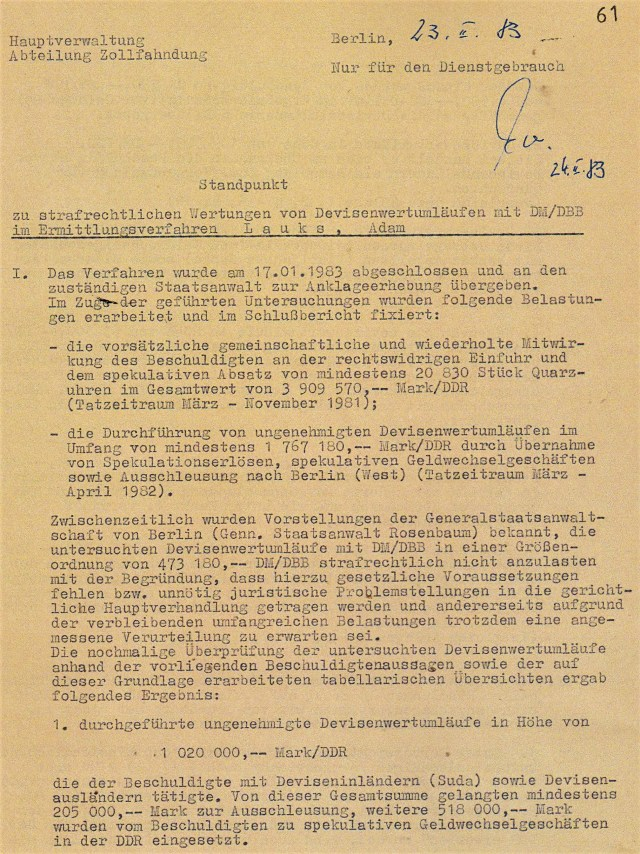 Zersetzung von Adam Lauks 1982.02.23.