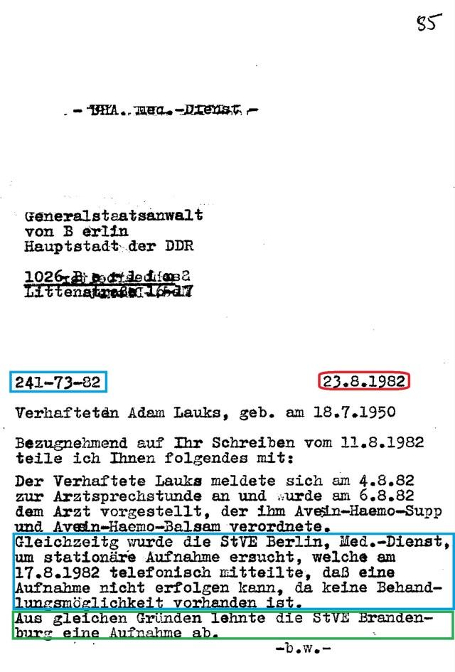 Zersetzung von Adam Lauks 1982.08.23.