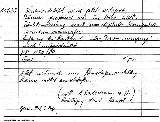 Zersetzung von Adam Lauks 1983.04.12.