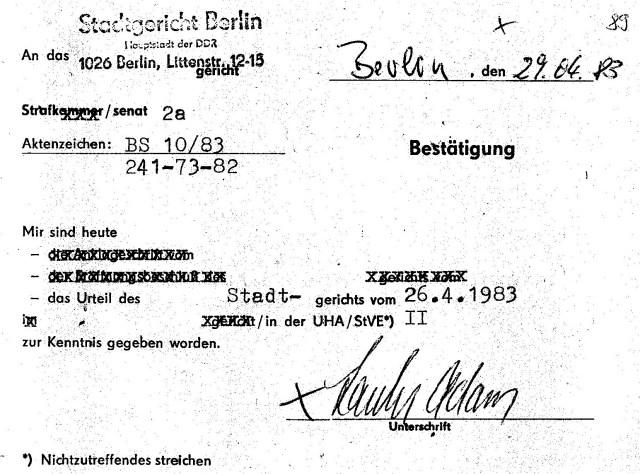 Zersetzung von Adam Lauks 1983.04.29.