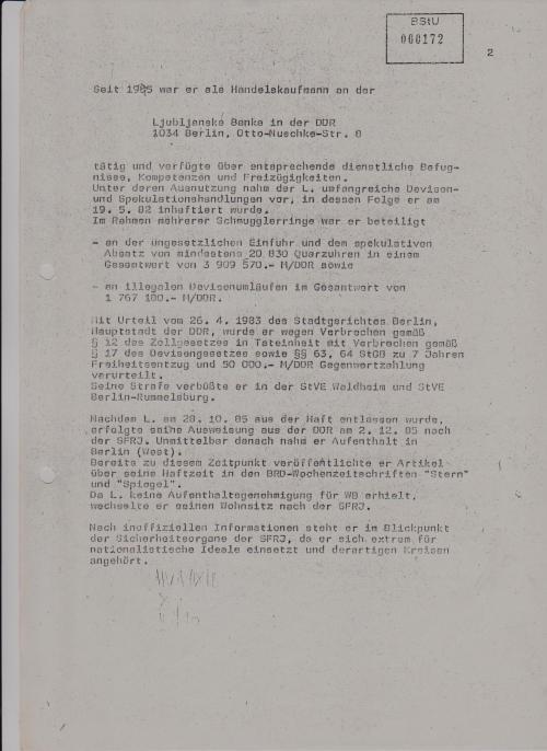 Operativ Information NR. 49/408/87  Lüge 1: verfügte über entsprechende dienstliche Befugnise,Kompetenzen und Freizügigkeiten