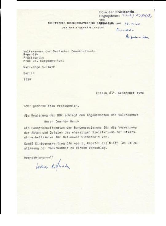 MfS erzwang- erpresste die Gründung  der Gauck Brehördeund legte die Schicksale der STASI Opfer in seine Hand