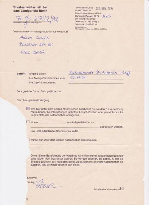An ein Ermittlungsverfahren aus dem November 1992 müsste sich er erinnern