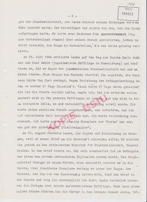 Am 25.Juli1984  verprügelt und vom Hauptmann Graupner beinahe erwürgt