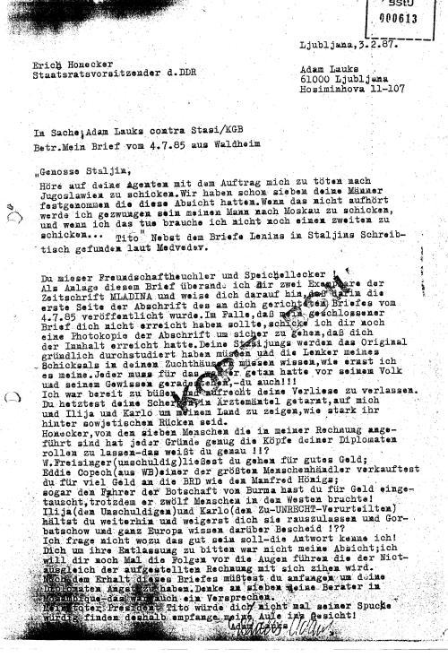 Begleitschreiben  an  den Staatsratsvorsitzenden der DDR