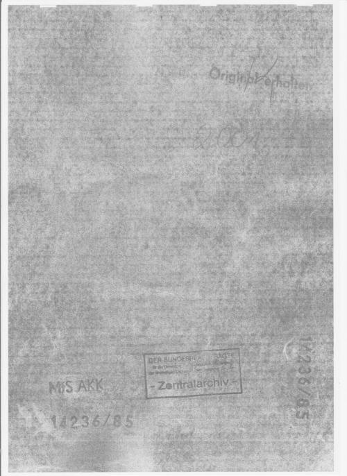 Aktendeckel der Originalakte aus dem Jahre 1985