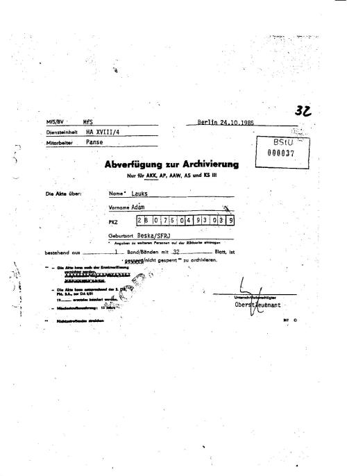 Abverfügung zur Archivierung  24.10.1985