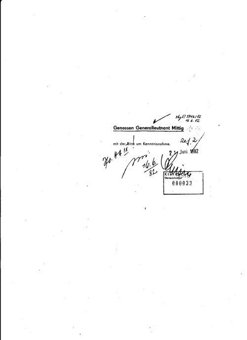 1.Stellvertreter des Ministers Genosse Generalleutnant Mittig Rudi 16.6.82  benachrichtigt durch den Generalmajor Klein