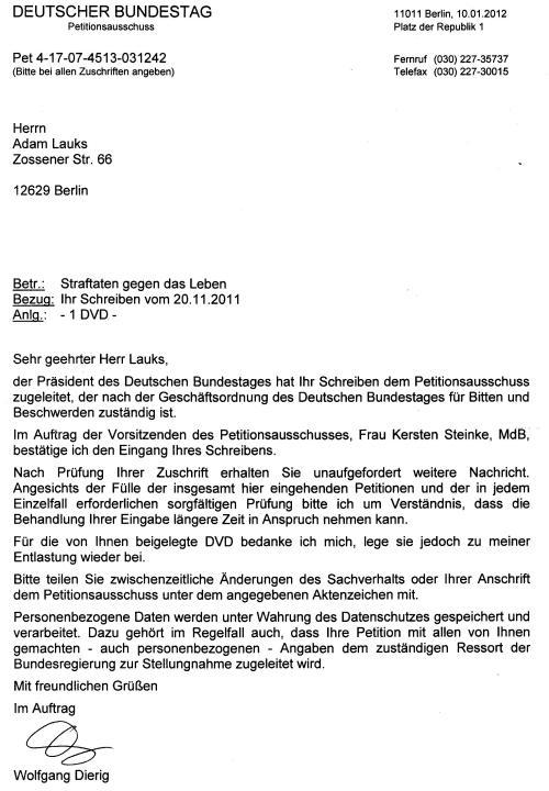 Der Bundestagspresident leitete mein Schreiben  in den Bundestag um !