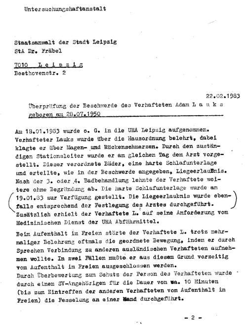 Es ist nicht ersichtlich ob das Schreiben die Generalstaatsanwaltschaft je erreicht hatte. Ich fand dasSchreiben in der Handakte der  Verhandlung von 1983 erst im Jahre 2014.