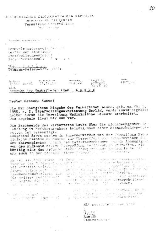 Eingabe des Verhafteten Adam Lauks - An den Generalstaatsanwalt der DDR - Leiter der Abteilung Strafvollzugsaufsicht - Gen Staatsanwalt Kunze