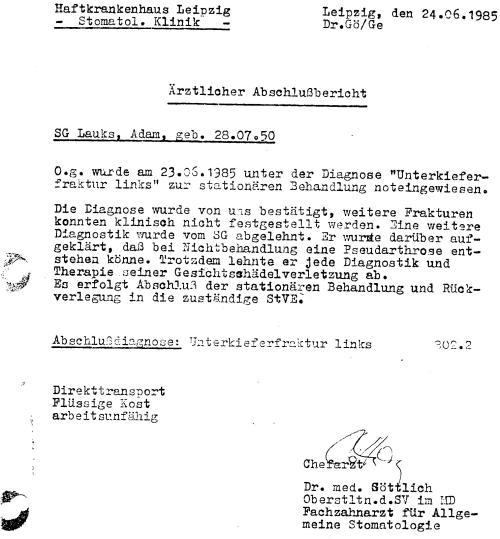 Lückenlose ärztliche Behandlung - Haftkrankenhaus Meusdorf Lpz.
