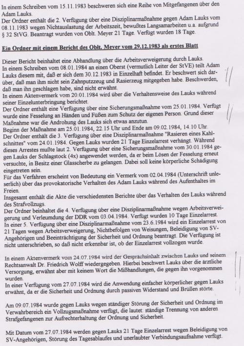 Nach der Einlieferung in die erste Chirurgische Klinik Berlin Buch - Klinik zur besonderen Verwendung des MfS