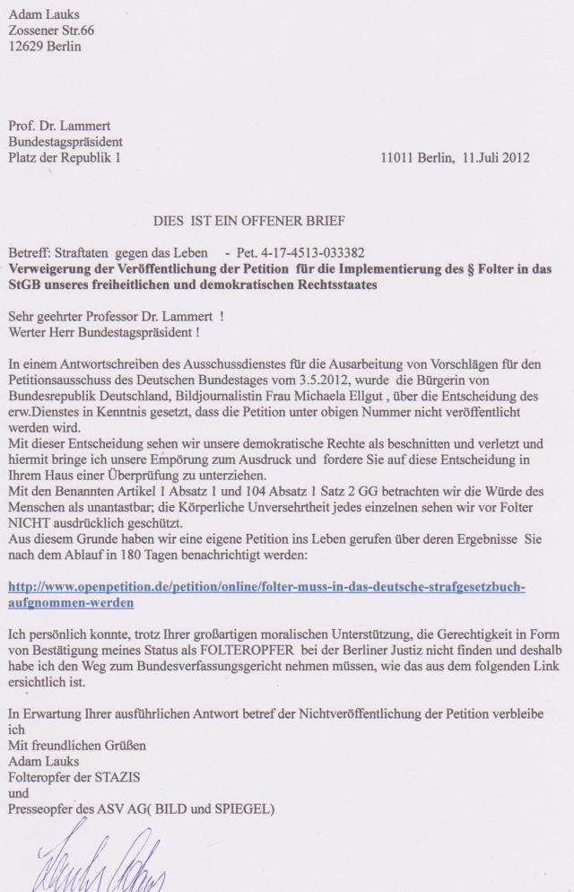 OFFENER BRIEF AN DEN BUNDESTAGSPRÄSIDENTEN Prof.Dr. Lammert