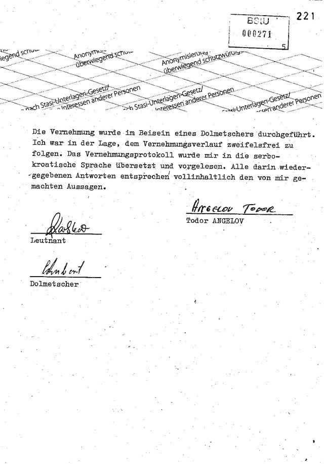 Von  218  bis 221 fehlen zwei Seiten im  Bericht von Angelov... Leutnant Karlstedt  machte seinen Job und draußen blühte das Geschäft..