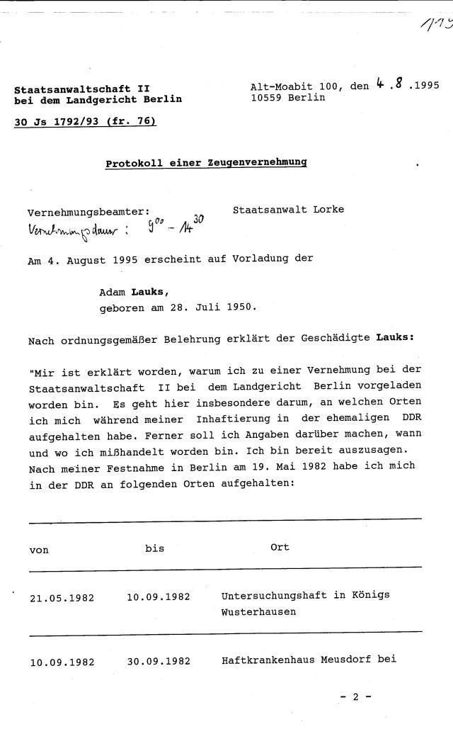 Ermittlungsverfahren 30 Js 1792 93 005