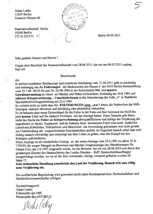 Ermittlungsverfahren auf Strafantrag wg. Folter 272 Js 2215 -11 011