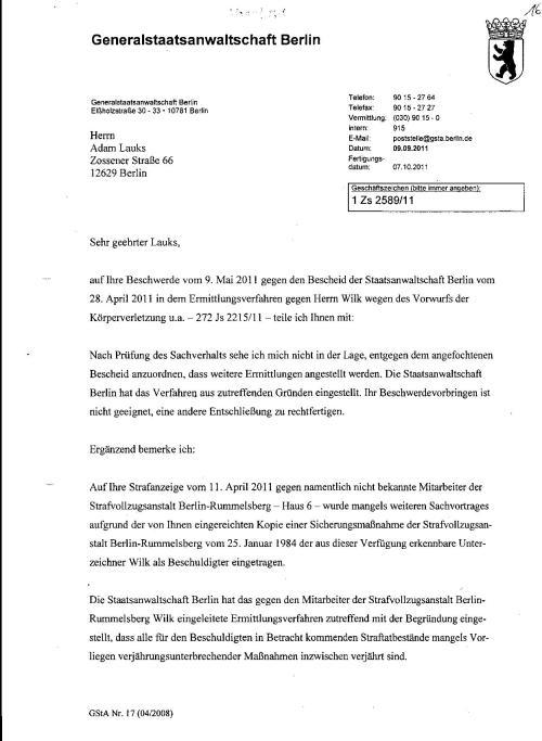 Ermittlungsverfahren auf Strafantrag wg. Folter 272 Js 2215 -11 022
