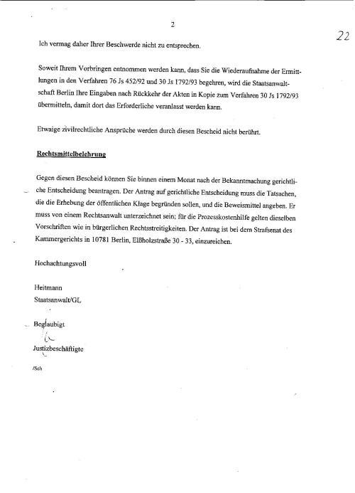 Ermittlungsverfahren auf Strafantrag wg. Folter 272 Js 2215 -11 028