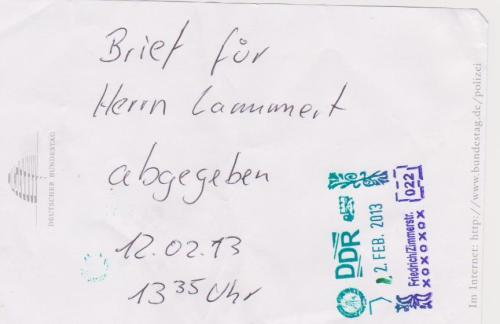 Mein letztmaliges Schreiben am deb Bundestagspräsidenten der als bis jetzt einziger mein Respekt und Vertrauen genießt.