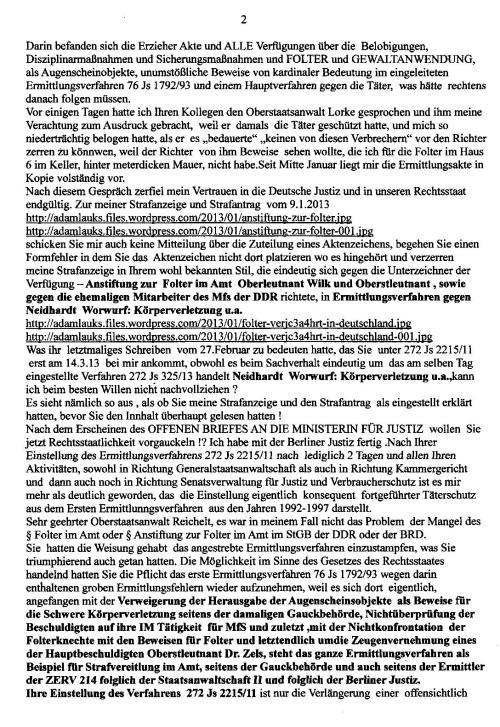 Schande  fällt auf die Berliner Justiz und ZERV 214
