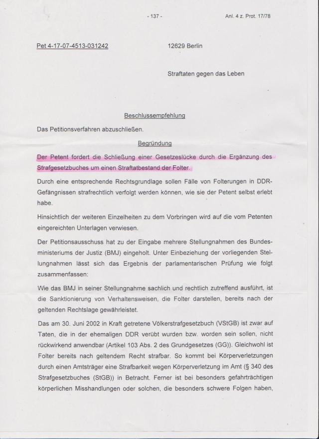 Expertiese/Gutachten in Puncto Implementierung des § Folter in das StGB der BRD.