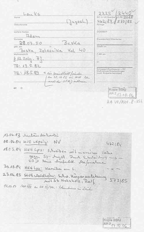 Hier war der Name des STASI-Schergen intern und extern noch nicht geschützt/geschwärzt ! Schaue das Gleiche Dokument 2012 an - oben. Jahn Behörde schützt den Täter und seine Anstifter - die STASI !!??