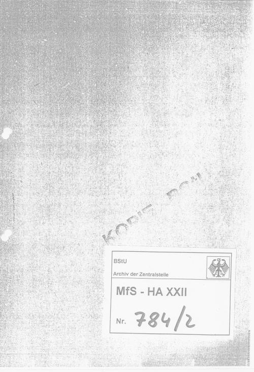 HV XXII  Terrorabwehr des MfS  - Stümper vor dem Herren
