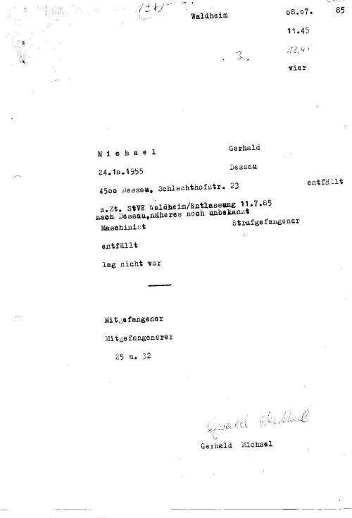 Vernehmungsprotokoll über Unterkieferbruch am 23.6.1985 in der Speziellen Strafvollzugsabteilung von Waldheim