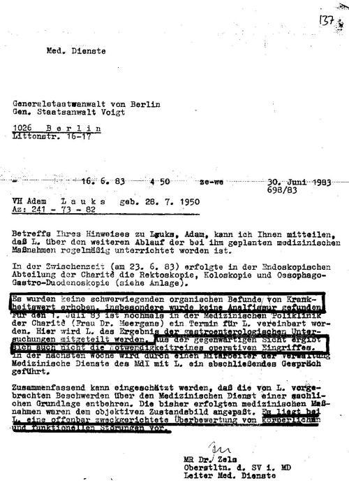 """Zitat des IM NAGEL:""""Ohne die STAZIS ist in Berlin Rummelsburg nichts gelaufen"""""""