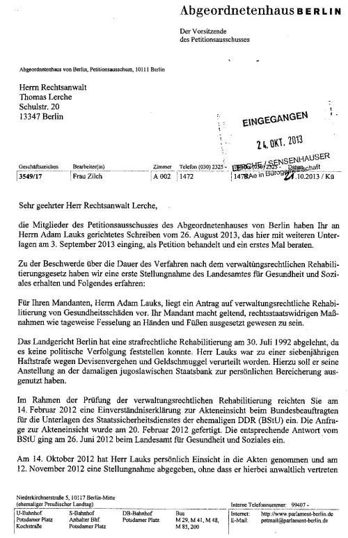 Petitionsausschuss an RA Lerche