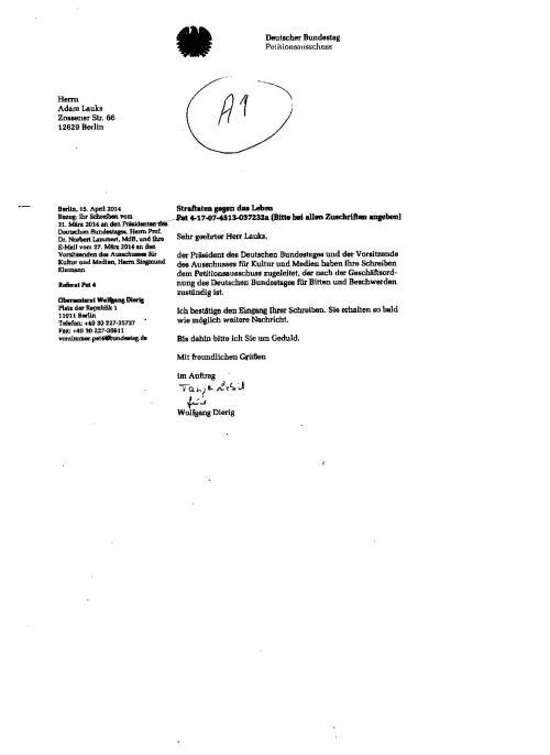 Oberamtsrat wurde übernommen in den neuen Petitionsausschuss des DB und unterdrückt weiter...