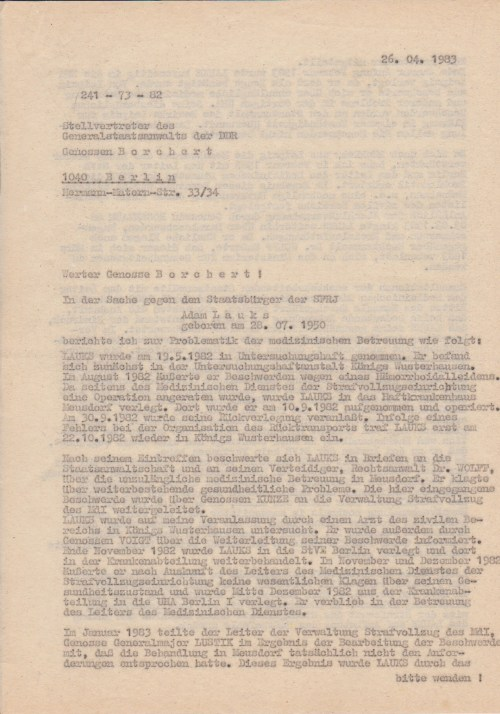 Die Lage wurde am 24.5.1982 ALKUT