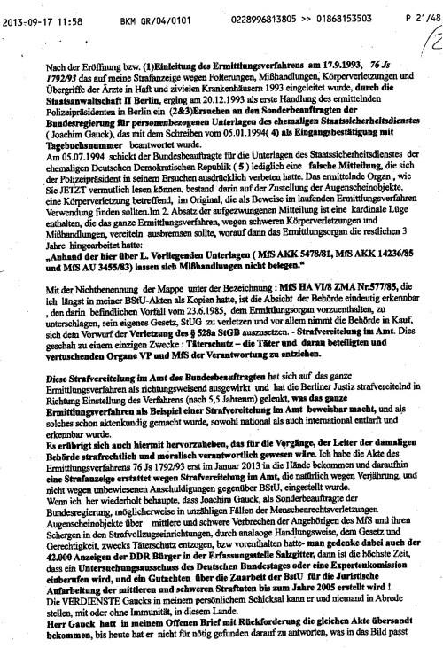 Petition Dr Lammerts/im Namen Adam Lauks/ lautet: Strafvereitelung im Amt des Sonderbeauftragten der Bunndesregierung  fürpersonenbezogenen Unterlagen des MfS im Ermittlungsverfahren 76 Js 1792/93  1992-1997 begangen 1994 durch Joachim Gauck ( sls Leiter )