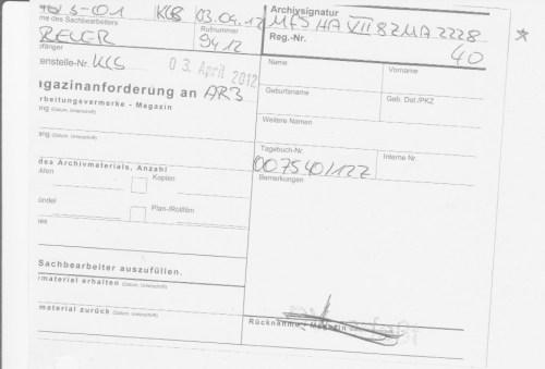 NFS HA VII/8 ZMA 2228  Treffer - Akte geht zu Frau Büchler